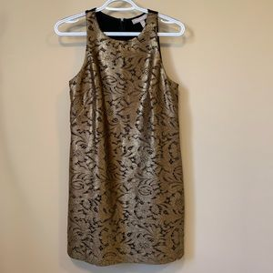 Banana Republic Gold Laced Sleeveless Mini Dress